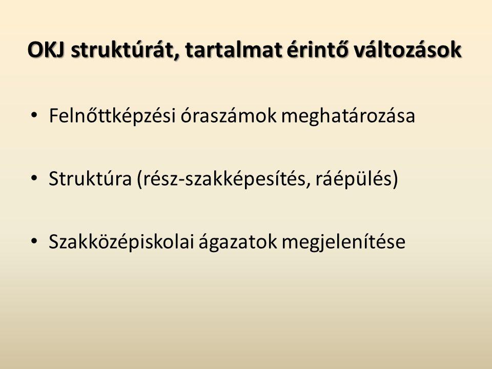 OKJ struktúrát, tartalmat érintő változások Felnőttképzési óraszámok meghatározása Struktúra (rész-szakképesítés, ráépülés) Szakközépiskolai ágazatok megjelenítése