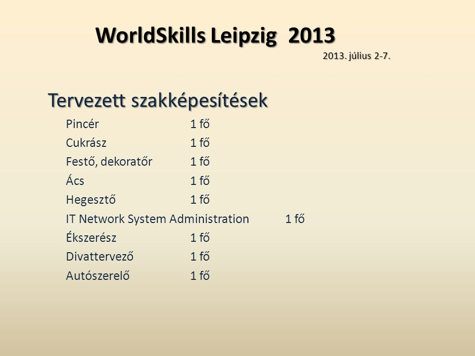 WorldSkills Leipzig 2013 2013. július 2-7.