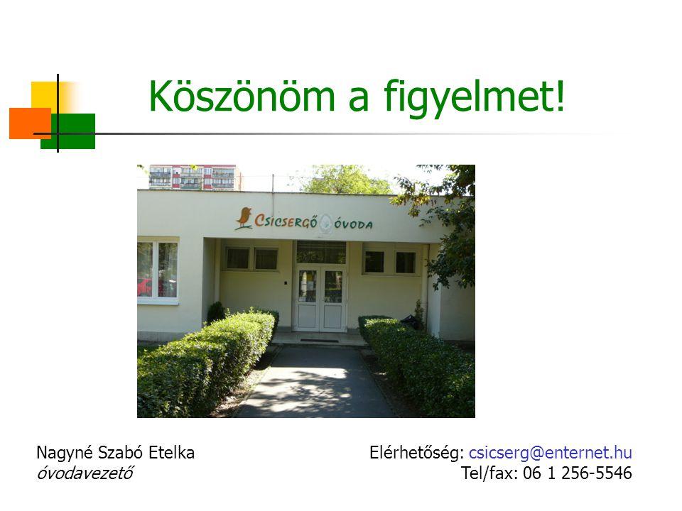 Köszönöm a figyelmet! Nagyné Szabó Etelka óvodavezető Elérhetőség: csicserg@enternet.hu Tel/fax: 06 1 256-5546