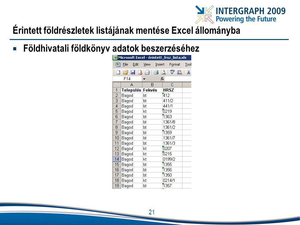 21 Érintett földrészletek listájának mentése Excel állományba  Földhivatali földkönyv adatok beszerzéséhez