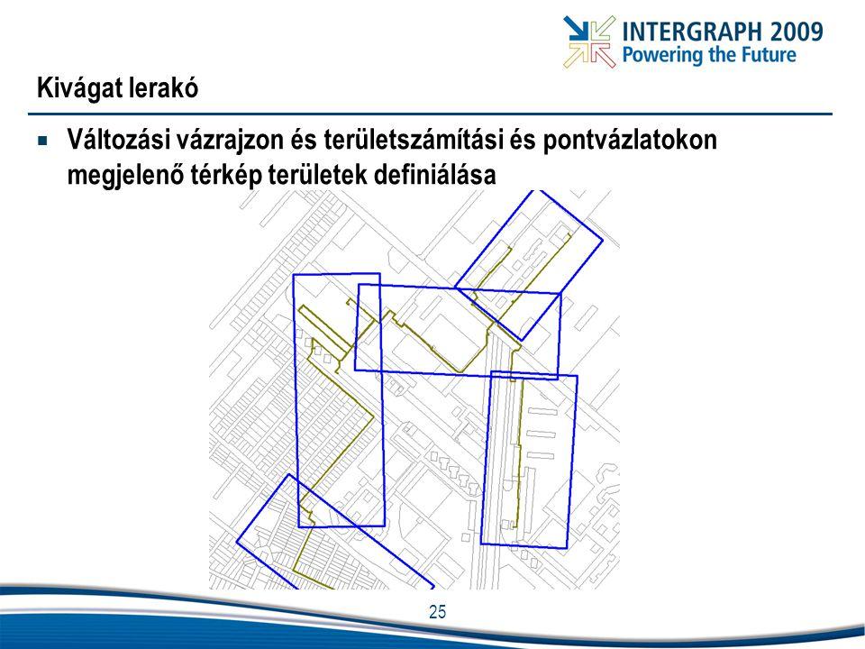 25 Kivágat lerakó  Változási vázrajzon és területszámítási és pontvázlatokon megjelenő térkép területek definiálása