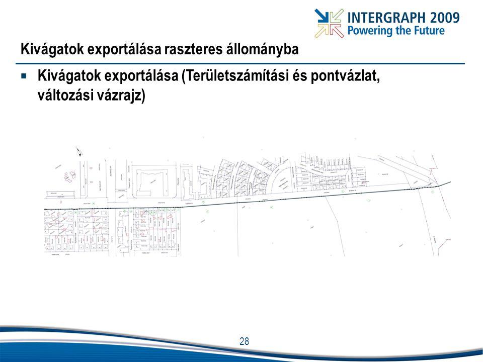 28 Kivágatok exportálása raszteres állományba  Kivágatok exportálása (Területszámítási és pontvázlat, változási vázrajz)