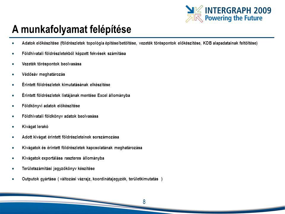 8 A munkafolyamat felépítése  Adatok előkészítése (földrészletek topológia építése/betöltése, vezeték töréspontok előkészítése, KDB alapadatainak fel