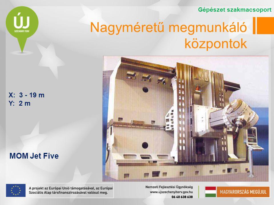 Nagyméretű megmunkáló központok MOM Jet Five X: 3 - 19 m Y: 2 m Gépészet szakmacsoport