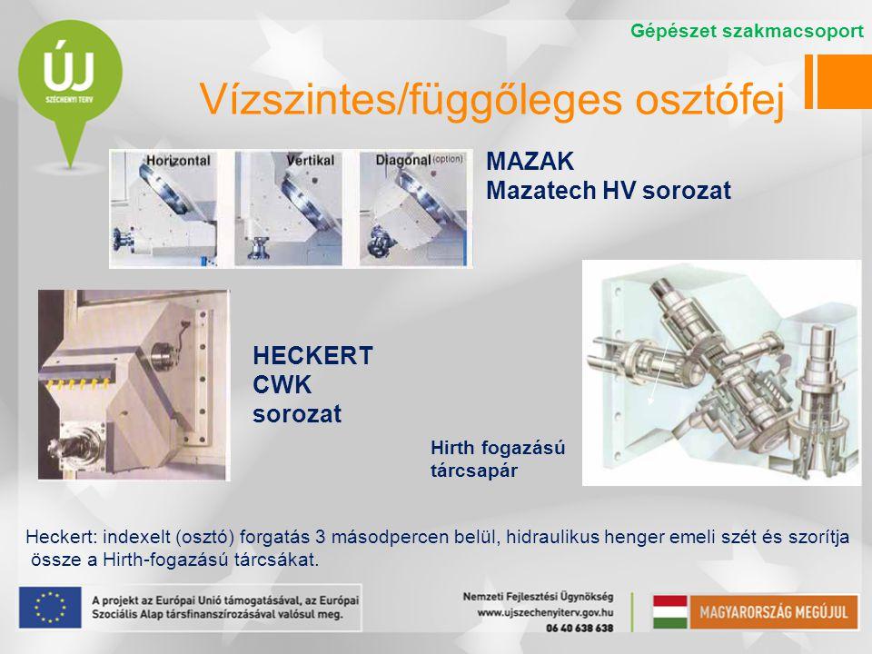 Vízszintes/függőleges osztófej MAZAK Mazatech HV sorozat HECKERT CWK sorozat Heckert: indexelt (osztó) forgatás 3 másodpercen belül, hidraulikus henge