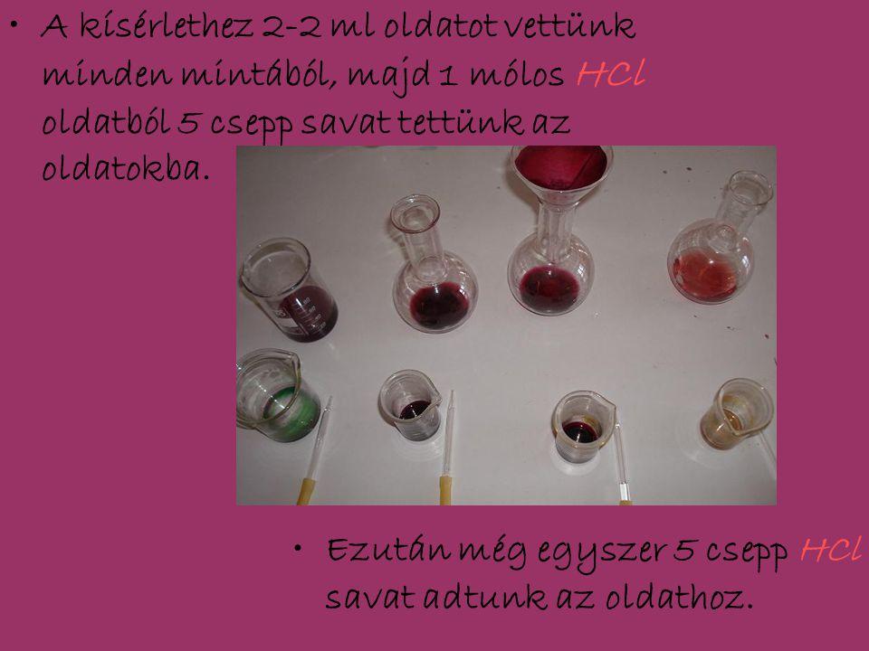 A kísérlethez 2-2 ml oldatot vettünk minden mintából, majd 1 mólos HCl oldatból 5 csepp savat tettünk az oldatokba. Ezután még egyszer 5 csepp HCl sav