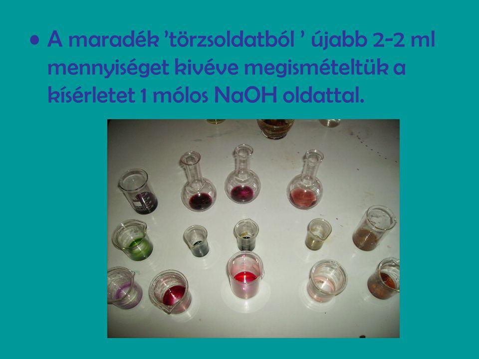 A maradék 'törzsoldatból ' újabb 2-2 ml mennyiséget kivéve megismételtük a kísérletet 1 mólos NaOH oldattal.