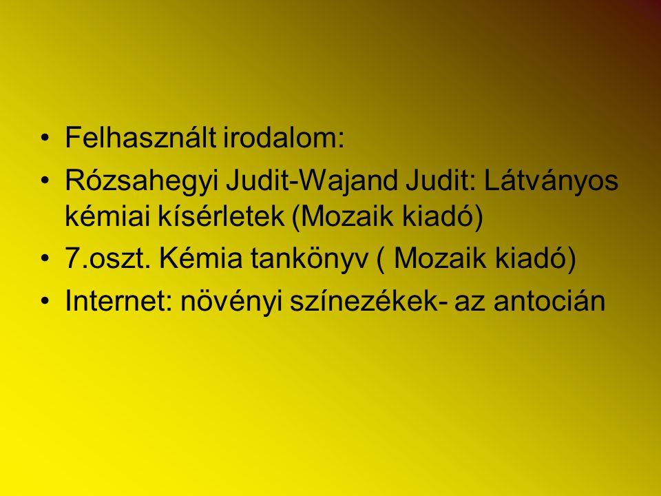 Felhasznált irodalom: Rózsahegyi Judit-Wajand Judit: Látványos kémiai kísérletek (Mozaik kiadó) 7.oszt. Kémia tankönyv ( Mozaik kiadó) Internet: növén