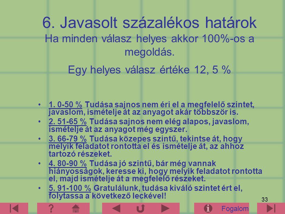 33 6. Javasolt százalékos határok Ha minden válasz helyes akkor 100%-os a megoldás. Egy helyes válasz értéke 12, 5 % 1. 0-50 % Tudása sajnos nem éri e