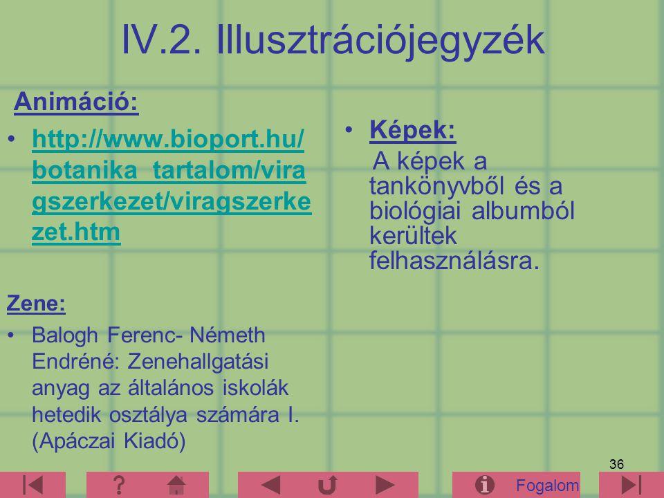 36 IV.2. Illusztrációjegyzék Animáció: http://www.bioport.hu/ botanika_tartalom/vira gszerkezet/viragszerke zet.htmhttp://www.bioport.hu/ botanika_tar