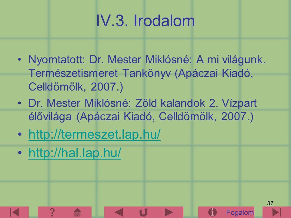 37 IV.3. Irodalom Nyomtatott: Dr. Mester Miklósné: A mi világunk. Természetismeret Tankönyv (Apáczai Kiadó, Celldömölk, 2007.) Dr. Mester Miklósné: Zö