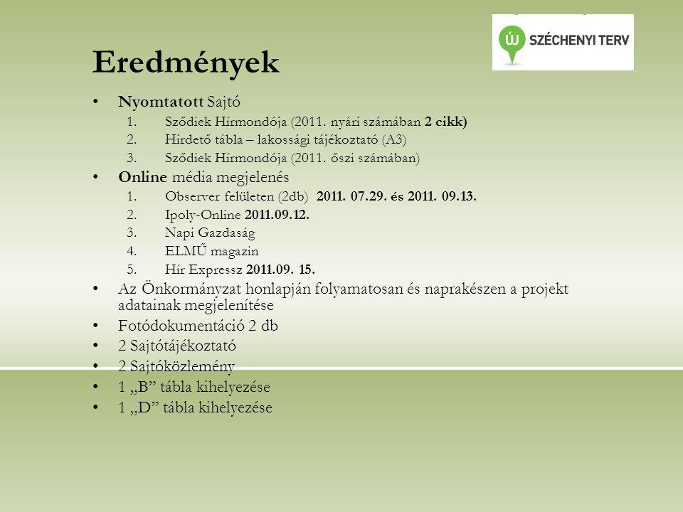 Eredmények Nyomtatott Sajtó 1.Sződiek Hírmondója (2011.