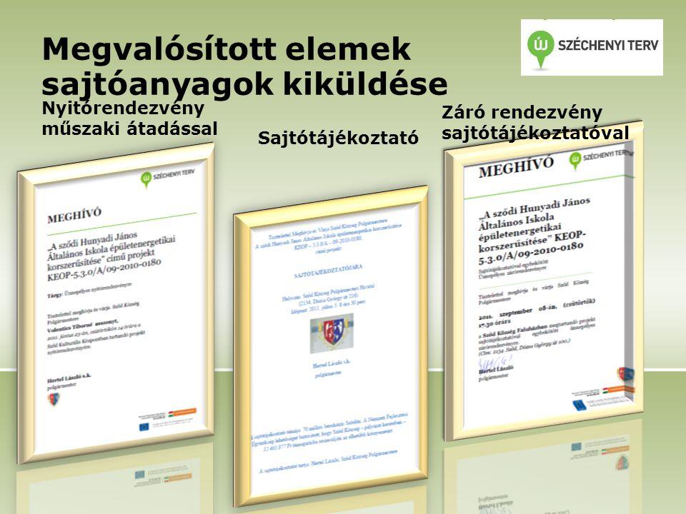 Megvalósított elemek sajtóanyagok kiküldése Nyitórendezvény műszaki átadással Sajtótájékoztató Záró rendezvény sajtótájékoztatóval