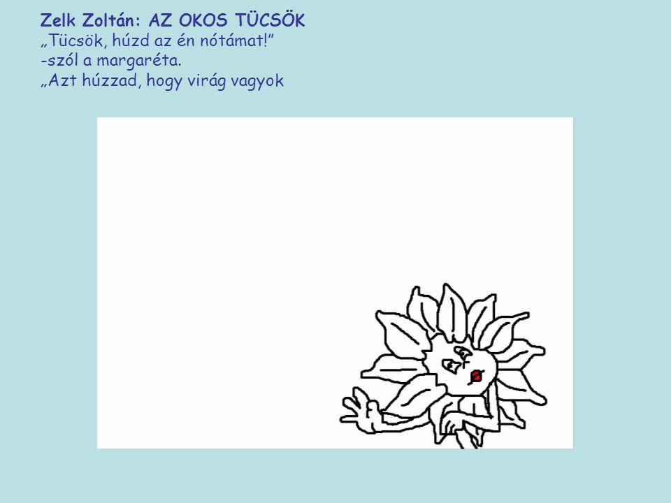 """Zelk Zoltán: AZ OKOS TÜCSÖK """"Tücsök, húzd az én nótámat!"""" -szól a margaréta. """"Azt húzzad, hogy virág"""