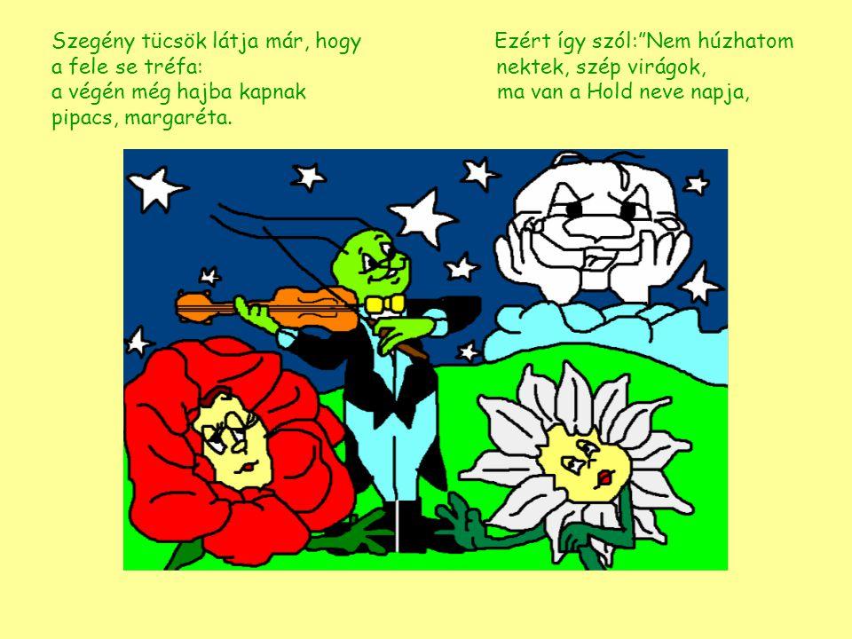 """Szegény tücsök látja már, hogy Ezért így szól:""""Nem húzhatom a fele se tréfa: nektek, szép virágok, a végén még hajba kapnak ma van a Hold neve pipacs,"""