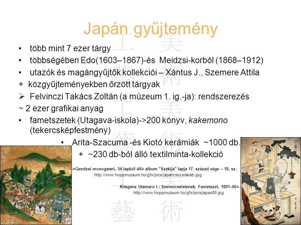 Hausenblasz András Felefedezések az interneten 20 Japán gyűjtemény több mint 7 ezer tárgy többségében Edo(1603–1867)-és Meidzsi-korból (1868–1912) uta