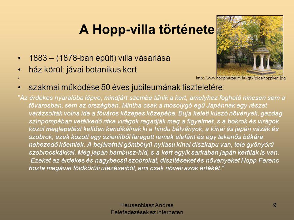 """Hausenblasz András Felefedezések az interneten 10 A Hopp-villa története """"Az érdekes nyaralóba lépve, mindjárt szembe tűnik a kert, amelyhez fogható nincsen sem a fővárosban, sem az országban."""