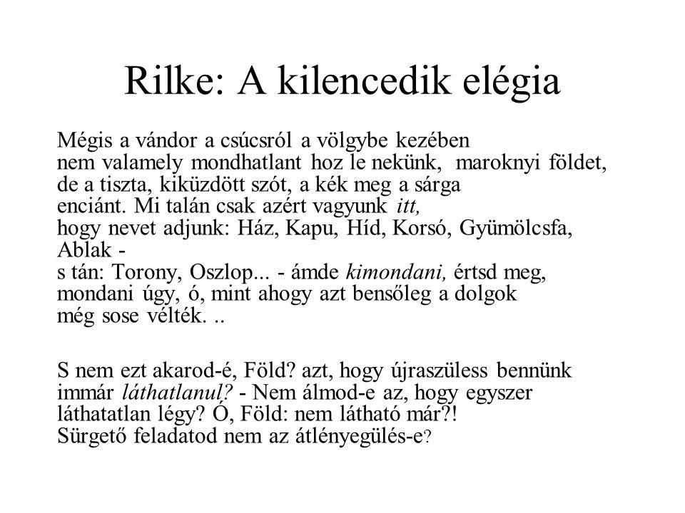 Rilke: A kilencedik elégia Mégis a vándor a csúcsról a völgybe kezében nem valamely mondhatlant hoz le nekünk, maroknyi földet, de a tiszta, kiküzdött szót, a kék meg a sárga enciánt.