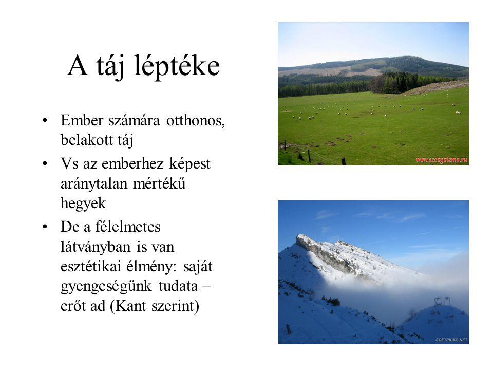 A táj léptéke Ember számára otthonos, belakott táj Vs az emberhez képest aránytalan mértékű hegyek De a félelmetes látványban is van esztétikai élmény