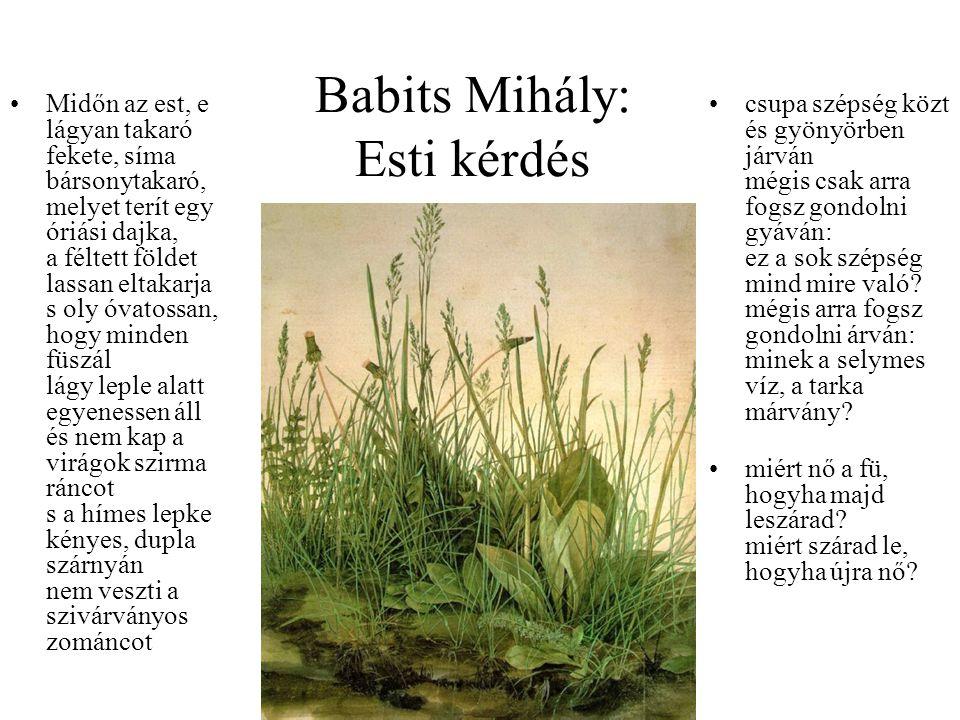 Babits Mihály: Esti kérdés Midőn az est, e lágyan takaró fekete, síma bársonytakaró, melyet terít egy óriási dajka, a féltett földet lassan eltakarja