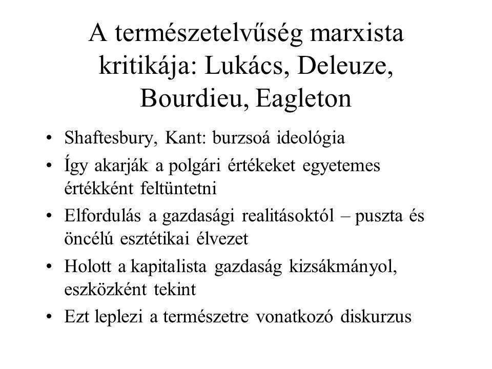 A természetelvűség marxista kritikája: Lukács, Deleuze, Bourdieu, Eagleton Shaftesbury, Kant: burzsoá ideológia Így akarják a polgári értékeket egyetemes értékként feltüntetni Elfordulás a gazdasági realitásoktól – puszta és öncélú esztétikai élvezet Holott a kapitalista gazdaság kizsákmányol, eszközként tekint Ezt leplezi a természetre vonatkozó diskurzus