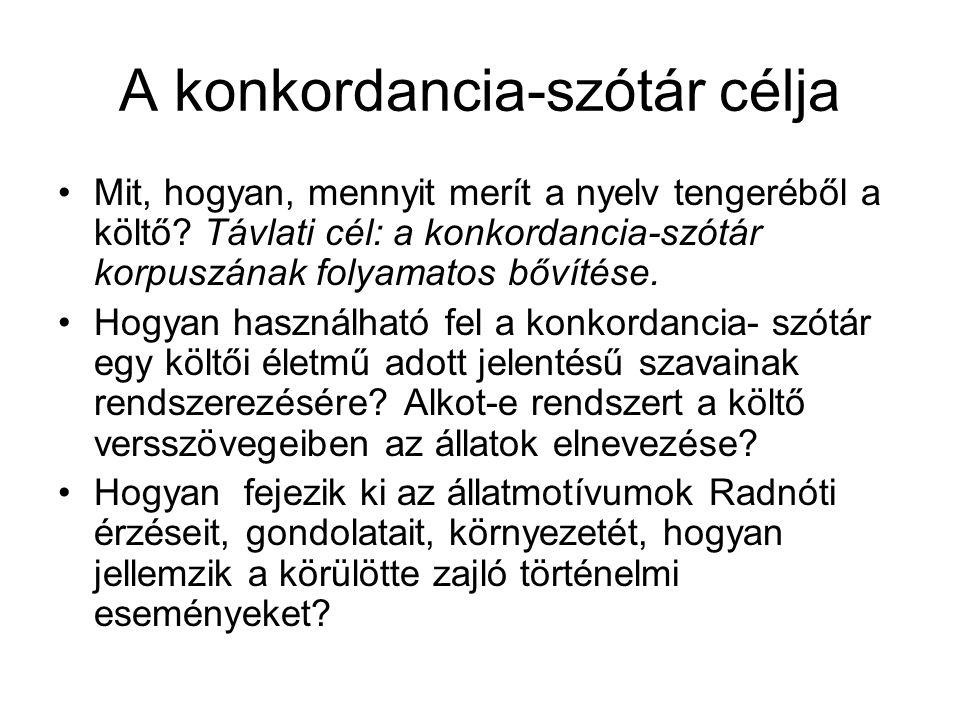 A konkordancia-szótár célja Mit, hogyan, mennyit merít a nyelv tengeréből a költő? Távlati cél: a konkordancia-szótár korpuszának folyamatos bővítése.