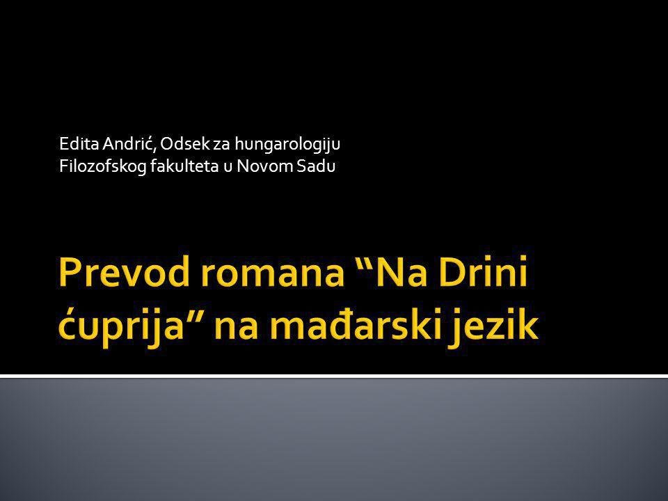 Edita Andrić, Odsek za hungarologiju Filozofskog fakulteta u Novom Sadu