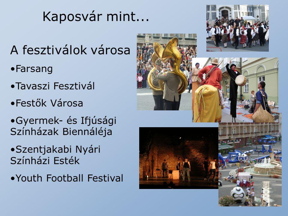 Kaposvár mint... A fesztiválok városa Farsang Tavaszi Fesztivál Festők Városa Gyermek- és Ifjúsági Színházak Biennáléja Szentjakabi Nyári Színházi Est