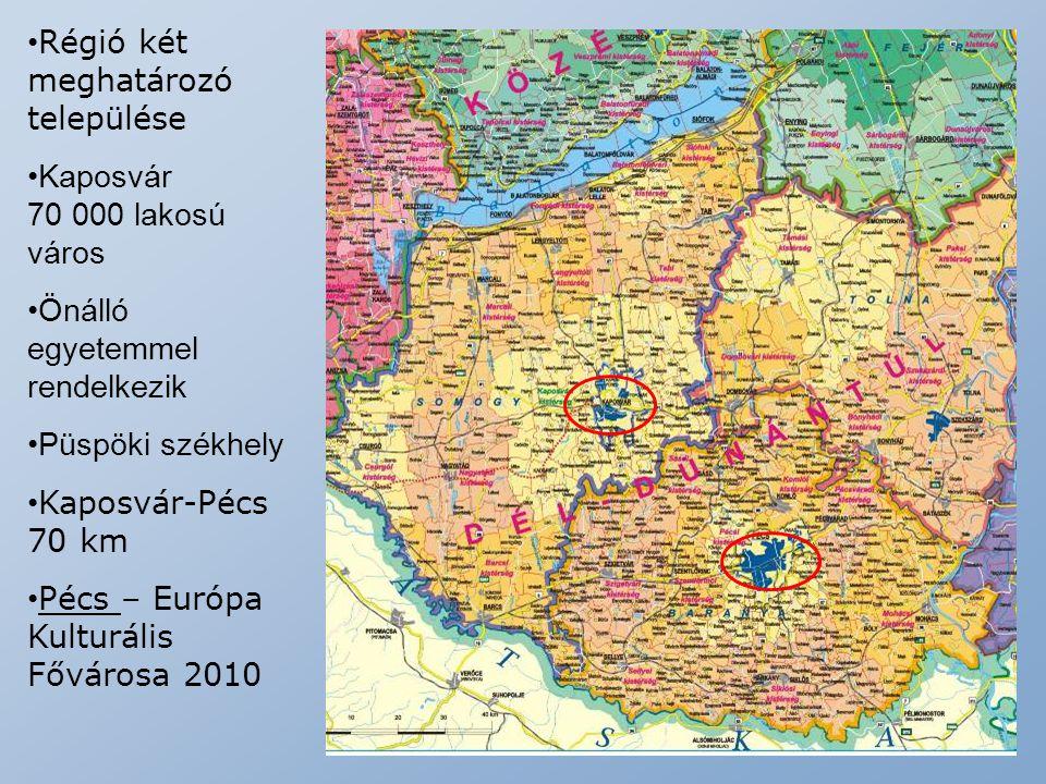 Régió két meghatározó települése Kaposvár 70 000 lakosú város Önálló egyetemmel rendelkezik Püspöki székhely Kaposvár-Pécs 70 km Pécs – Európa Kulturá
