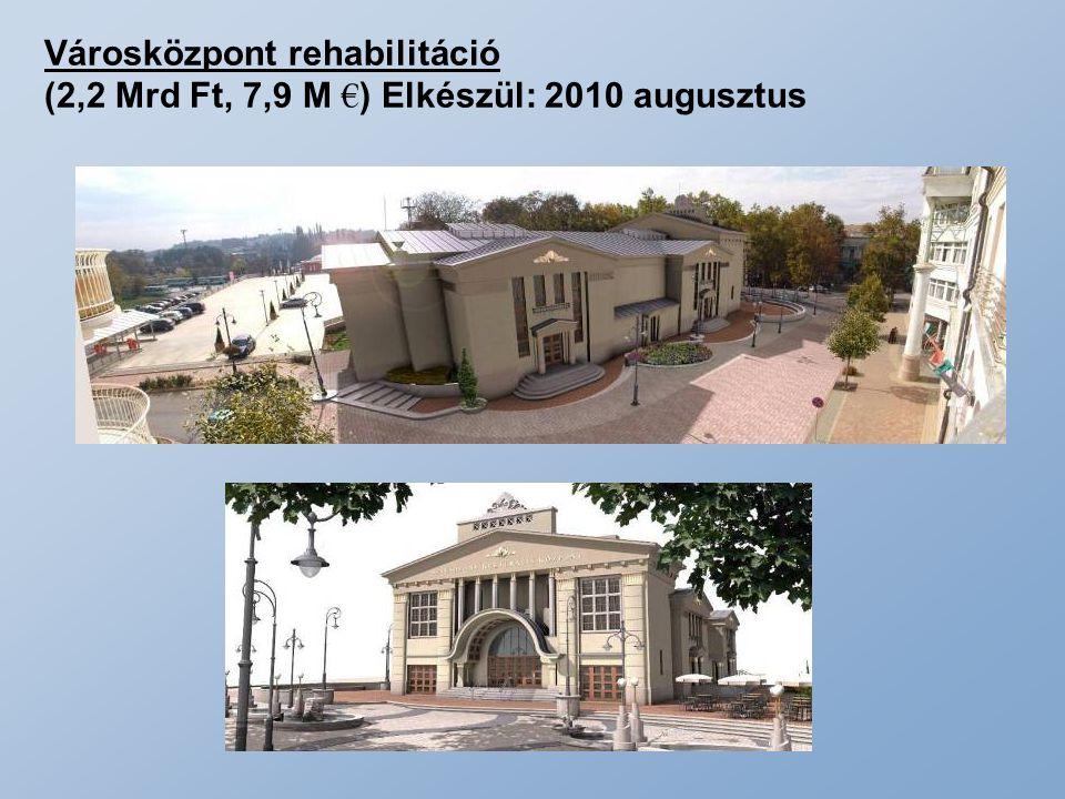 Városközpont rehabilitáció (2,2 Mrd Ft, 7,9 M € ) Elkészül: 2010 augusztus