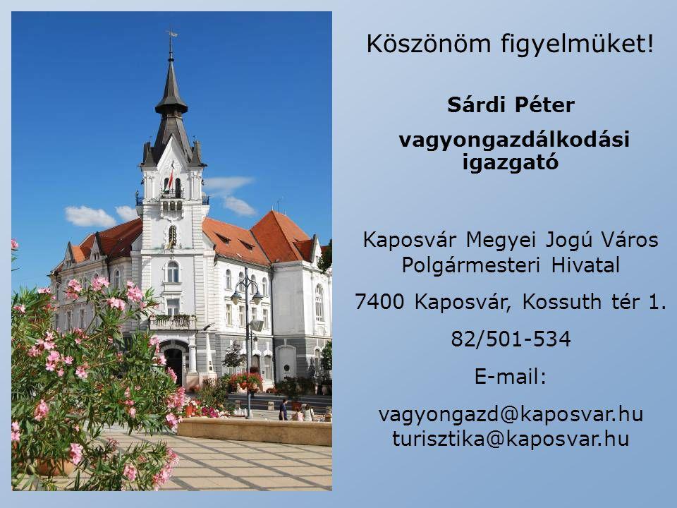 Köszönöm figyelmüket! Sárdi Péter vagyongazdálkodási igazgató Kaposvár Megyei Jogú Város Polgármesteri Hivatal 7400 Kaposvár, Kossuth tér 1. 82/501-53