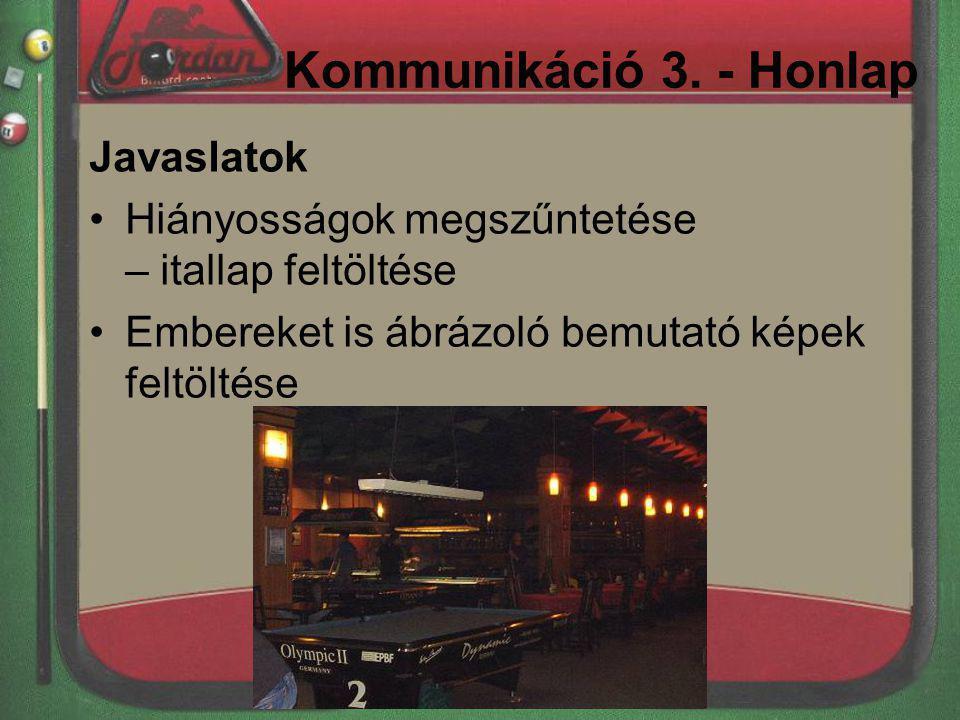 Kommunikáció 3. - Honlap Javaslatok Hiányosságok megszűntetése – itallap feltöltése Embereket is ábrázoló bemutató képek feltöltése