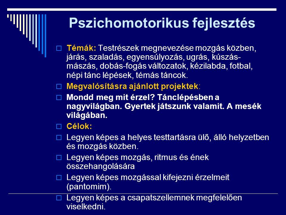 Pszichomotorikus fejlesztés  Témák: Testrészek megnevezése mozgás közben, járás, szaladás, egyensúlyozás, ugrás, kúszás- mászás, dobás-fogás változat