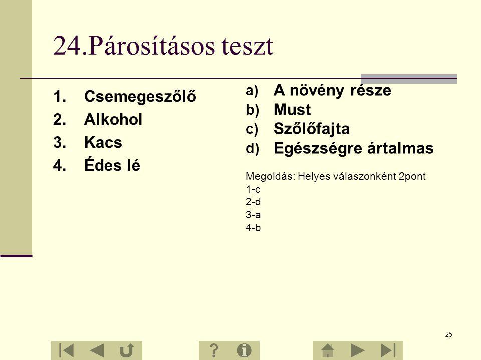 24 23.Feleletválasztós feladatok 1. Milyen környezeti adottságok kedvezők a szőlőtermesztés számára? a) Napfény, tápanyagban gazdag talaj b) Szikes ta