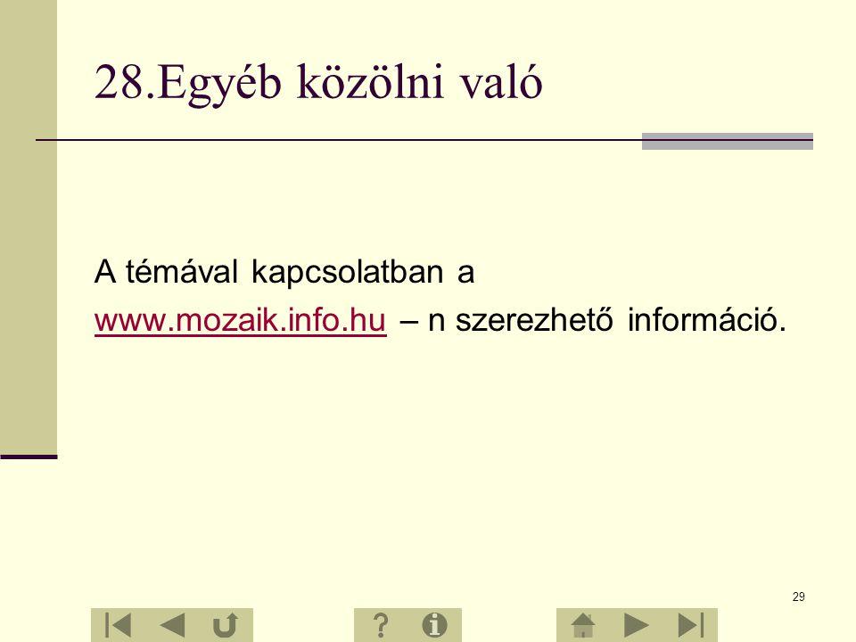 28 27.Irodalmi források Dr. Halász Tibor Jámbor Gyuláné Vízvári Albertné: Természetismeret Mozaik Oktatási Stúdió – Szeged, 2000