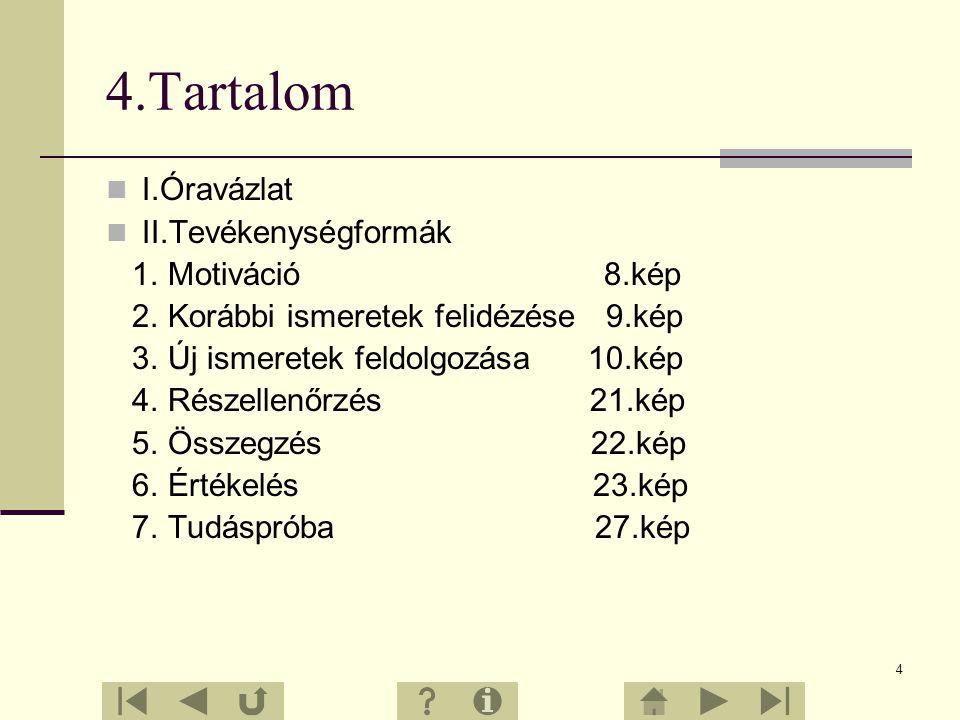 4 4.Tartalom I.Óravázlat II.Tevékenységformák 1.Motiváció 8.kép 2.