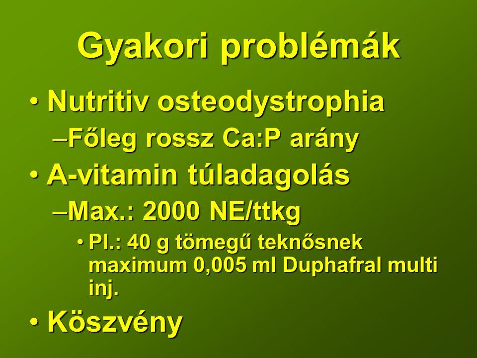Gyakori problémák Nutritiv osteodystrophiaNutritiv osteodystrophia –Főleg rossz Ca:P arány A-vitamin túladagolásA-vitamin túladagolás –Max.: 2000 NE/t