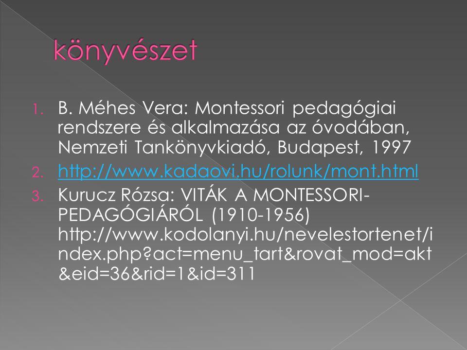 1. B. Méhes Vera: Montessori pedagógiai rendszere és alkalmazása az óvodában, Nemzeti Tankönyvkiadó, Budapest, 1997 2. http://www.kadaovi.hu/rolunk/mo