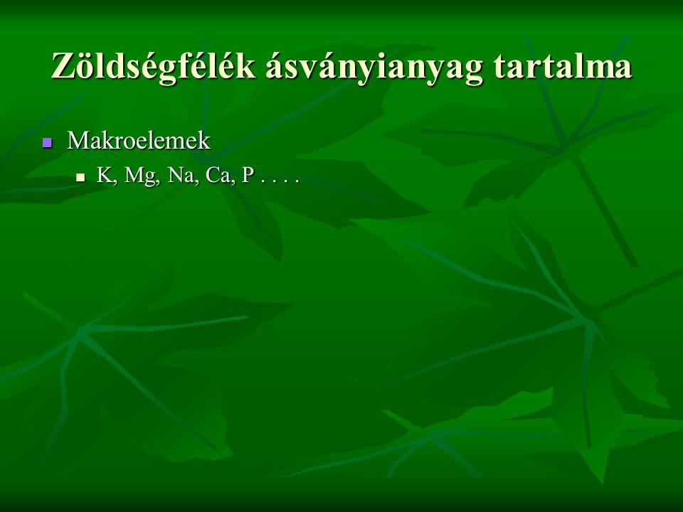 Zöldségfélék ásványianyag tartalma Makroelemek Makroelemek K, Mg, Na, Ca, P....