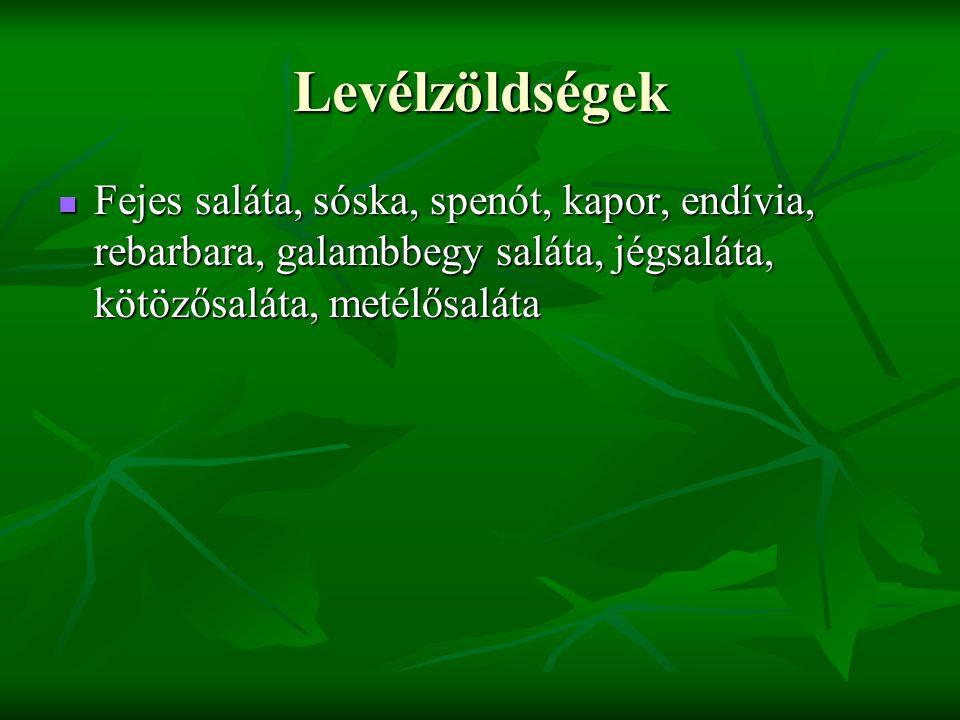 Levélzöldségek Fejes saláta, sóska, spenót, kapor, endívia, rebarbara, galambbegy saláta, jégsaláta, kötözősaláta, metélősaláta Fejes saláta, sóska, spenót, kapor, endívia, rebarbara, galambbegy saláta, jégsaláta, kötözősaláta, metélősaláta