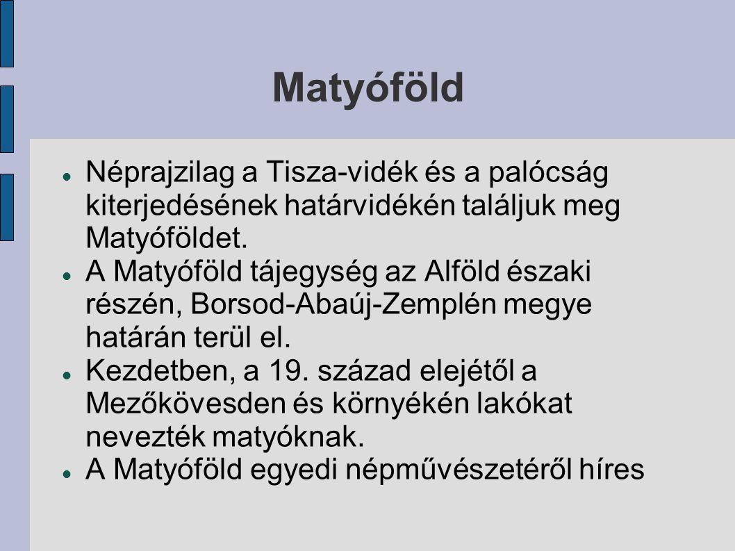 Matyóföld Néprajzilag a Tisza-vidék és a palócság kiterjedésének határvidékén találjuk meg Matyóföldet.