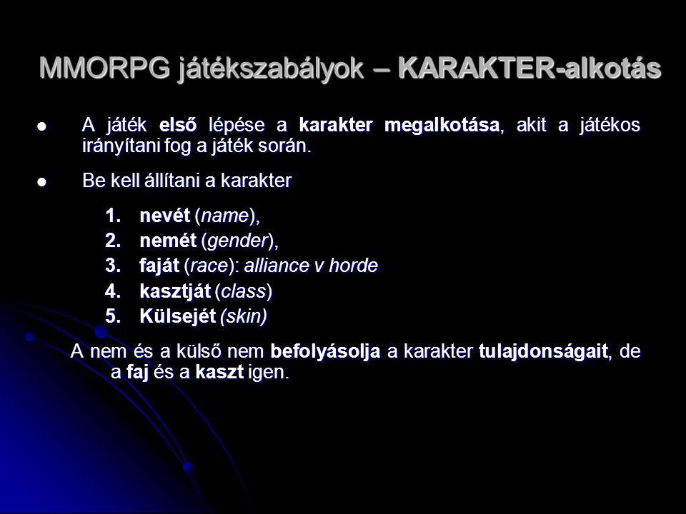MMORPG játékszabályok – KARAKTER-alkotás A játék első lépése a karakter megalkotása, akit a játékos irányítani fog a játék során. A játék első lépése
