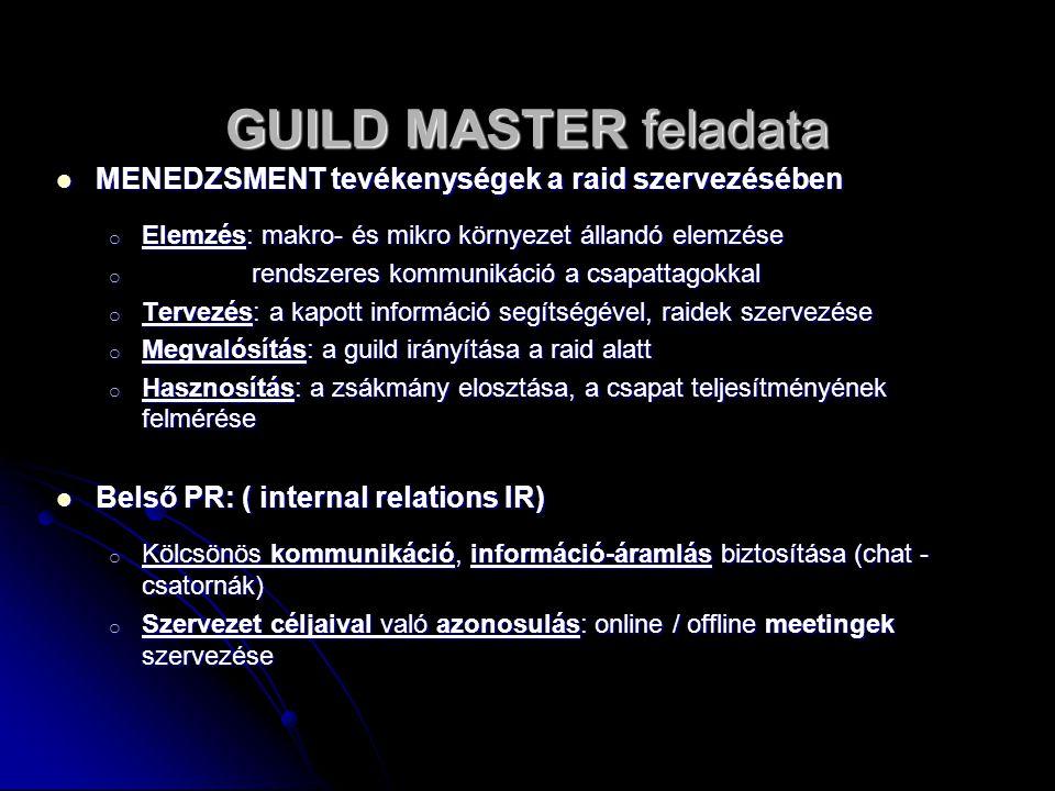 GUILD MASTER feladata MENEDZSMENT tevékenységek a raid szervezésében MENEDZSMENT tevékenységek a raid szervezésében o Elemzés: makro- és mikro környez