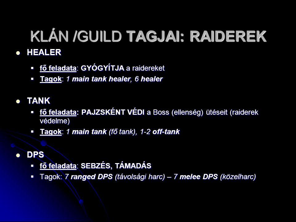 KLÁN /GUILD TAGJAI: RAIDEREK HEALER HEALER  fő feladata: GYÓGYÍTJA a raidereket  Tagok: 1 main tank healer, 6 healer TANK TANK  fő feladata: PAJZSK