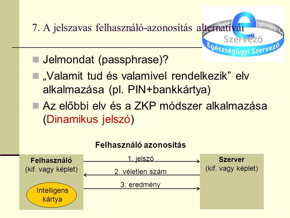 7. A jelszavas felhasználó-azonosítás alternatívái Jelmondat (passphrase).