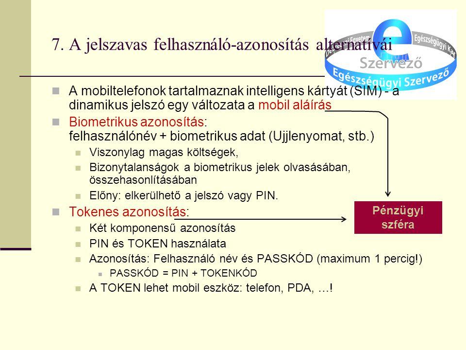 7. A jelszavas felhasználó-azonosítás alternatívái A mobiltelefonok tartalmaznak intelligens kártyát (SIM) - a dinamikus jelszó egy változata a mobil