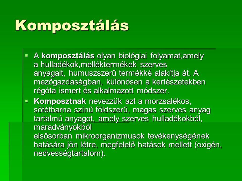 Komposztálás  A komposztálás olyan biológiai folyamat,amely a hulladékok,melléktermékek szerves anyagait, humuszszerű termékké alakítja át.