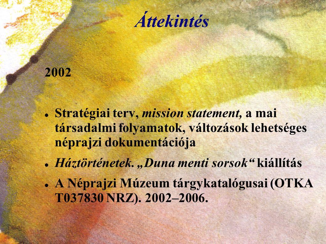 """Áttekintés 2002 Stratégiai terv, mission statement, a mai társadalmi folyamatok, változások lehetséges néprajzi dokumentációja Háztörténetek. """"Duna me"""