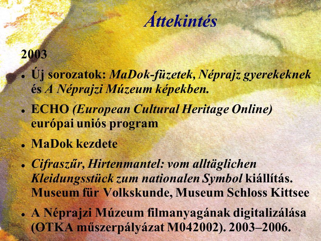 Áttekintés 2003 Új sorozatok: MaDok-füzetek, Néprajz gyerekeknek és A Néprajzi Múzeum képekben. ECHO (European Cultural Heritage Online) európai uniós