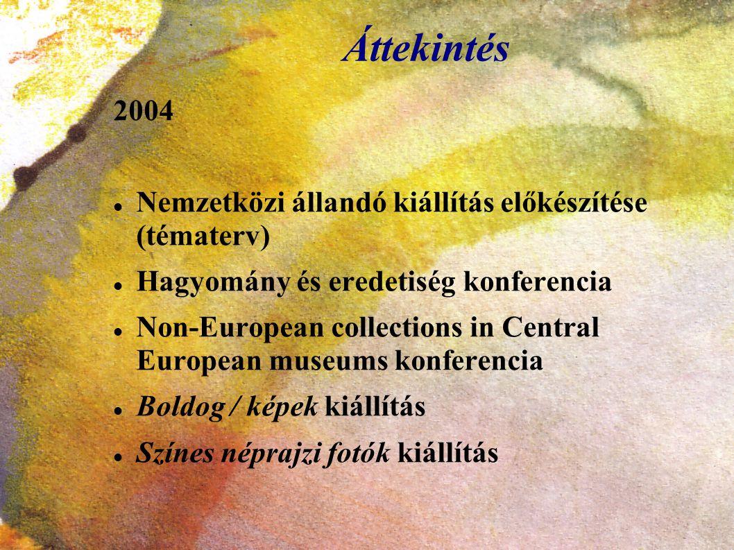 Áttekintés 2004 Nemzetközi állandó kiállítás előkészítése (tématerv) Hagyomány és eredetiség konferencia Non-European collections in Central European